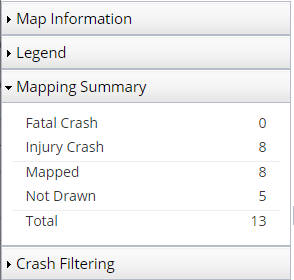 Tims transportation injury mapping system the mapping summary shows how many of the mapped collisions are fatal vs injury it also shows the total number of collisions that were selected from the ccuart Choice Image
